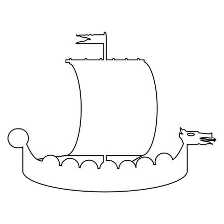 Drakkar icon on white background. Vector illustration. Vector