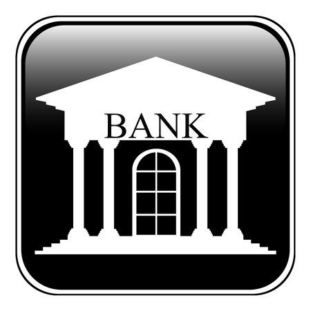 depository: Bank button on white background. Illustration