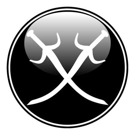 Crossed swords button on white background. Vector