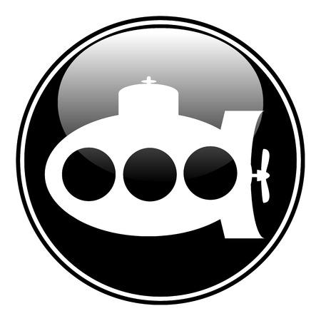 periscope: Submarine button on white background.  Illustration
