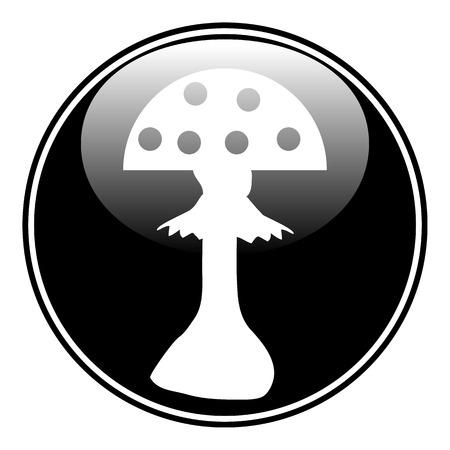 inedible: Amanita button on white background.  Illustration