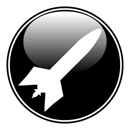 ballistic missile: Military rocket button on white background. Vector illustration.