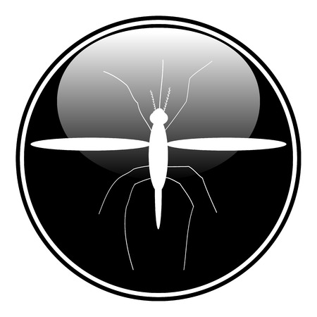 Mosquito button on white background. Vector illustration.