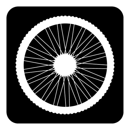 Bicycle wheel button on white background. Illustration