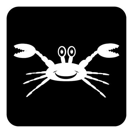 arthropoda: Crab button on white background illustration.