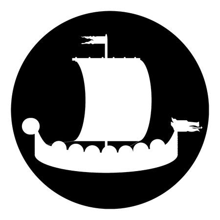 Drakkar button on white background illustration. Vector