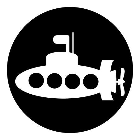 periscope: Submarine button on white background illustration.