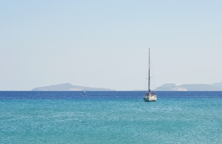 aegean sea: Sailing yacht in the Aegean Sea, Greece.