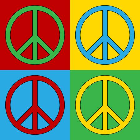 peace treaty: Pop art peace symbol icons. Illustration