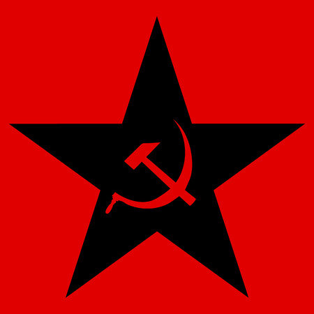 Communist star on red .
