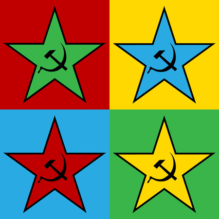 Pop art communist star, illustration.