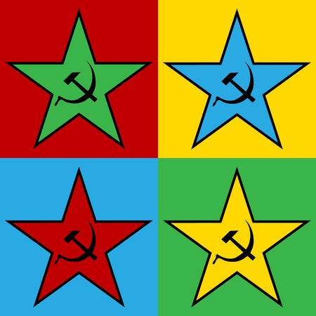 Pop art communist star, illustration.