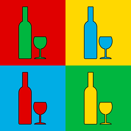 glasse: Pop art bottle and glasse symbol. Vector illustration.