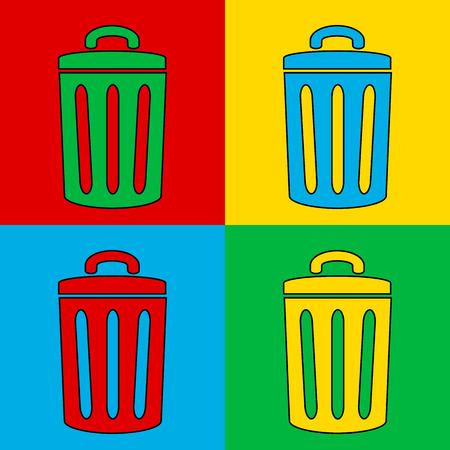 Pop art garbage symbol. Vector illustration. Vector