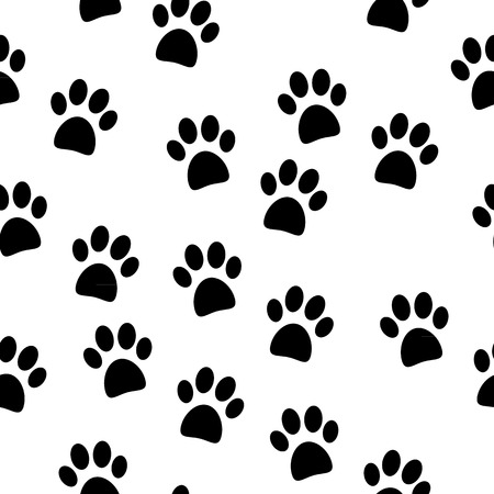 Paw seamless pattern on white background. Vector illustration. Vector
