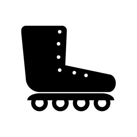 rollerblades: Roller skates icon on white background. Vector illustration.
