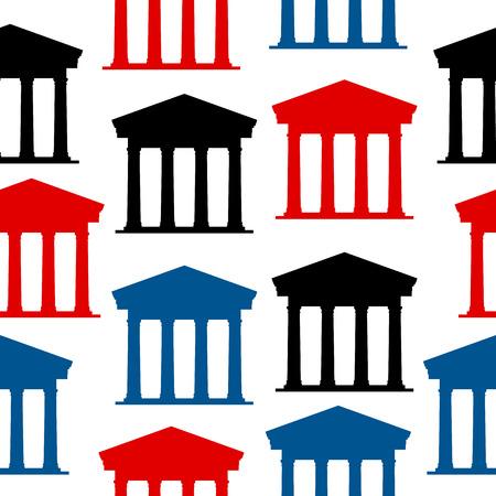 depository: Bank icon seamless pattern on white