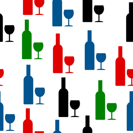 glasse: Bottle and glasses icon seamless pattern on white Illustration