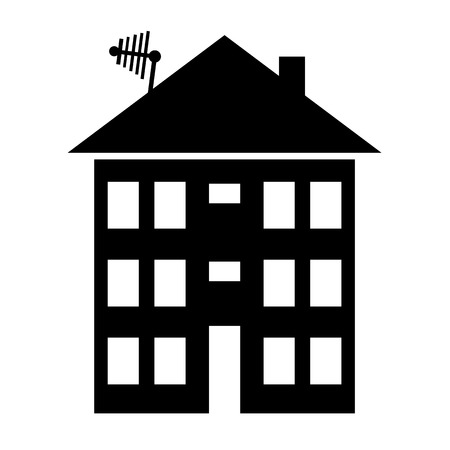 apartment house: Apartment house icon on white. Vector illustration.