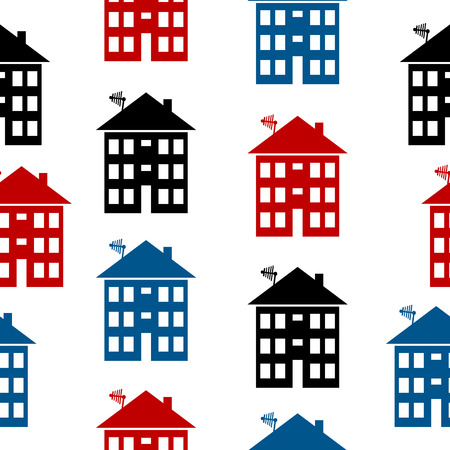 Apartment house icon seamless pattern on white. Vector illustration. Vector