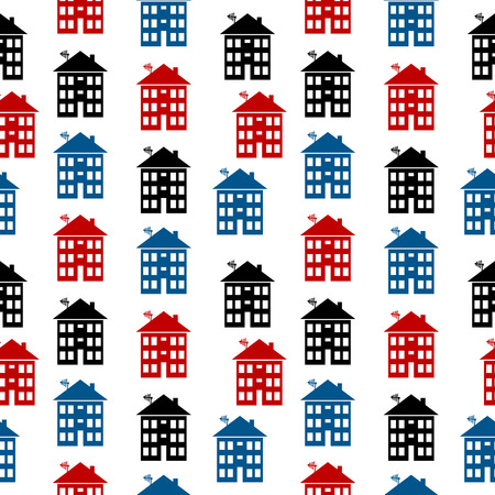 apartment house: Apartment house icon seamless pattern on white. Vector illustration. Illustration