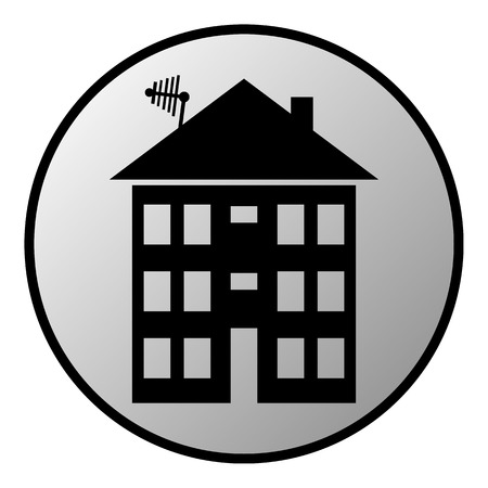 apartment house: Apartment house button on white. Vector illustration.