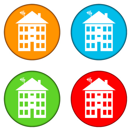 apartment house: Apartment house buttons set on white. Vector illustration.