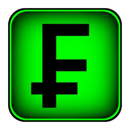 franc: Swiss franc symbol button on white background.