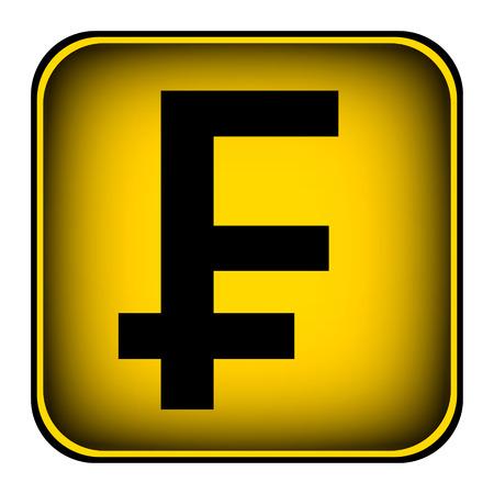 frank szwajcarski: Frank szwajcarski przycisk symbol na białym tle.
