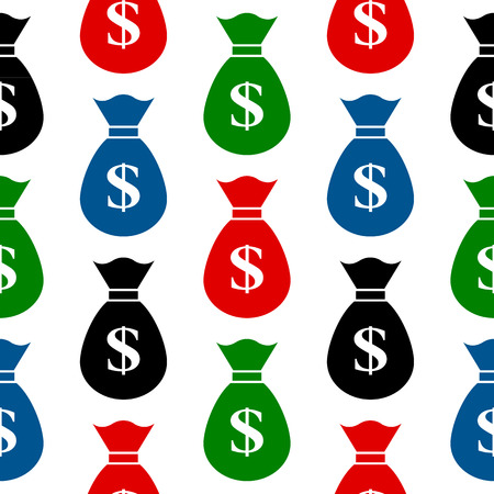 Money symbol seamless pattern on white background Vector