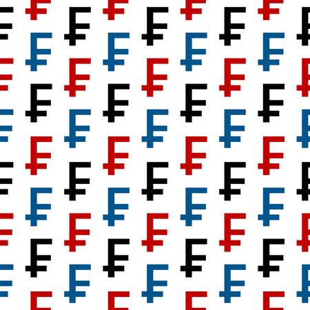frank szwajcarski: Frank szwajcarski symbolem szwu na białym tle Ilustracja