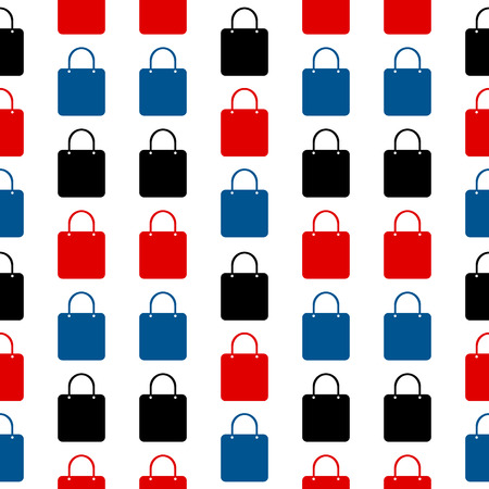 Shopping bag symbol seamless pattern on white background Vector