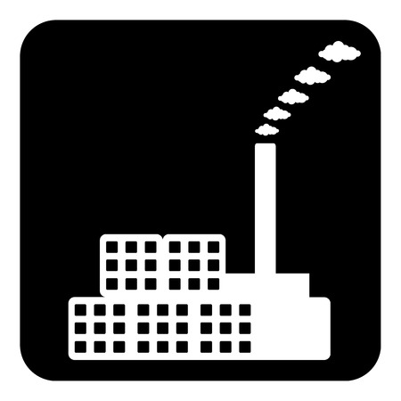 dangerous construction: Factory symbol button on white background. Vector illustration.