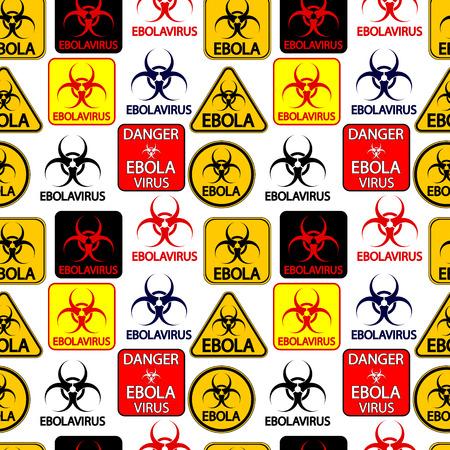 panneaux danger: Ebola danger seamless signe sur fond blanc. Vector illustration.