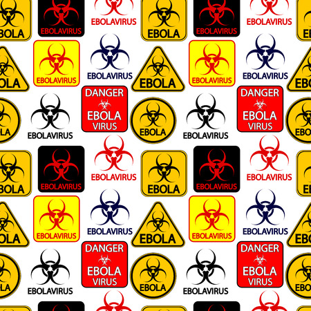 Ebola danger signs seamless pattern on white background. Vector illustration. Vector