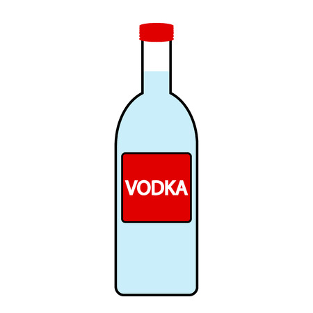 vodka: Vodka bottle icon on white background.