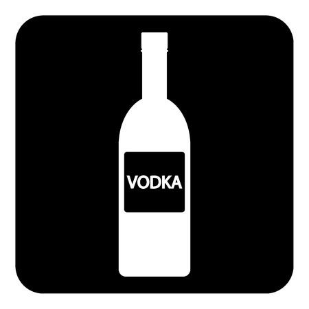 Vodka bottle symbol button on white background.