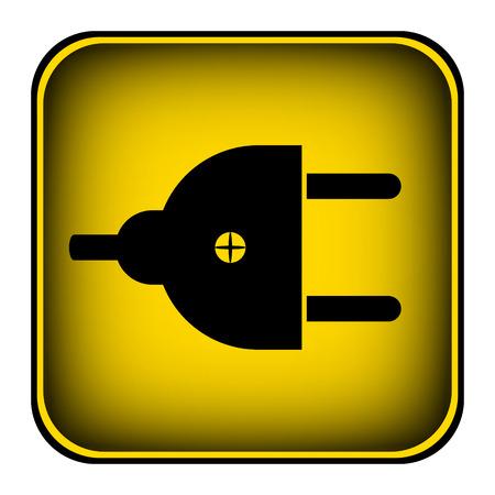 unplugged: Plug symbol button on white background. Vector illustration. Stock Photo