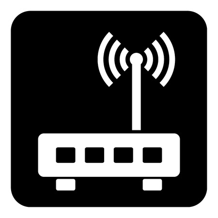 wireless communication: Router symbol button on white background. Vector illustration.