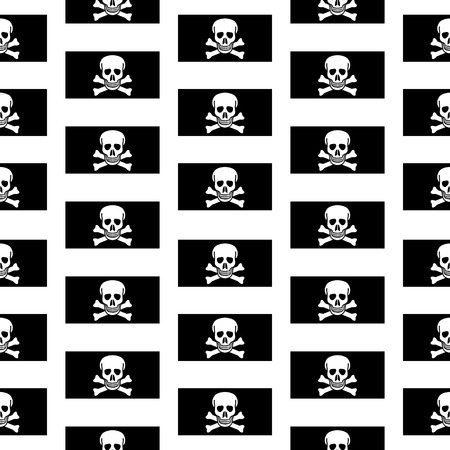 rogue: Jolly Roger seamless pattern on white background. Vector illustration.