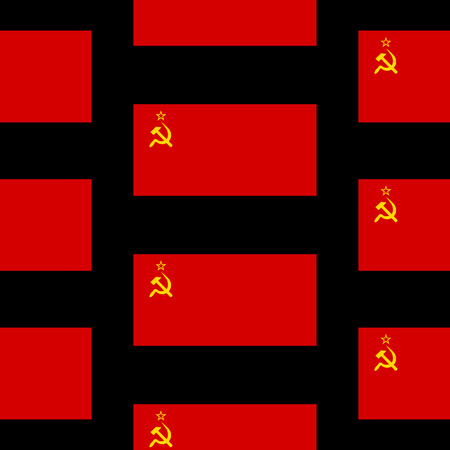 Flag of the Soviet Union seamless pattern on black background. Vector illustration.