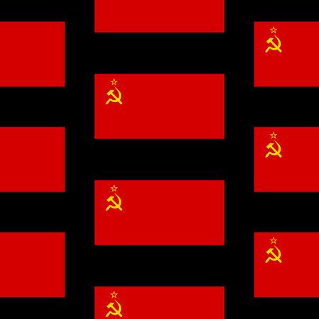 marxism: Flag of the Soviet Union seamless pattern on black background. Vector illustration.
