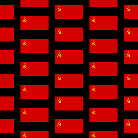 marxism: Flag of the Soviet Union seamless pattern on black background.