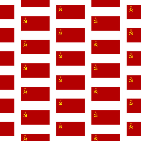 totalitarian: Flag of the Soviet Union seamless pattern on white background.  Illustration
