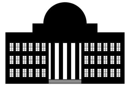 흰색 배경에 건물의 아이콘입니다. 신고전주의.