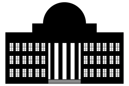 courthouse: Building icon on white background. Neoclassicism.