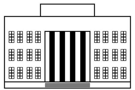 흰색 배경에 건물 아이콘입니다. 벡터 일러스트 레이 션. 신고전주의.