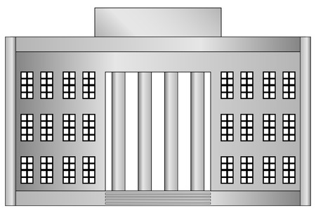 Building icon on white background. Vector illustration. Neoclassicism.