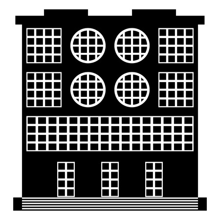 The building icon on white background, style of constructivism. Vector illustration.
