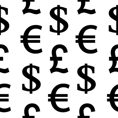 currency symbols: Currency symbols seamless pattern on white background. Vector illustration. Illustration
